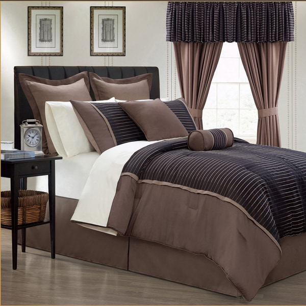 Limbo 24 piece brown contemporary bed in a bag with sheet for Matching bedroom and bathroom sets