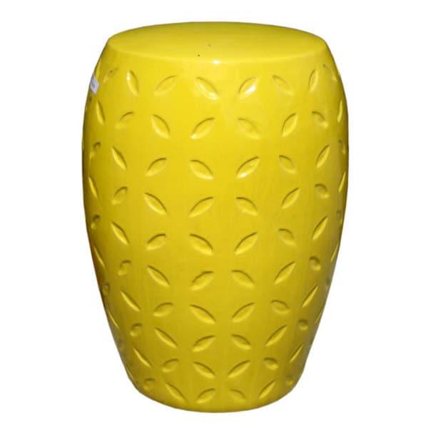 Yellow Lattice Ceramic Garden Stool. Opens flyout.