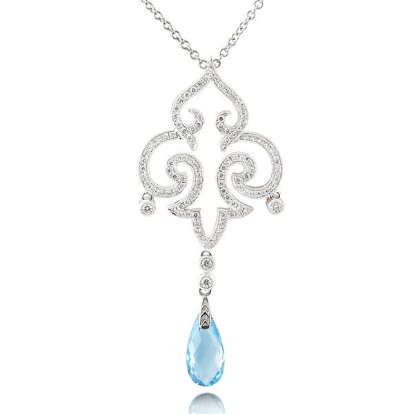 Annello by Kobelli 18k White Gold Blue Topaz and 3/4ct TDW Diamond Necklace (G-H, VS1-VS2