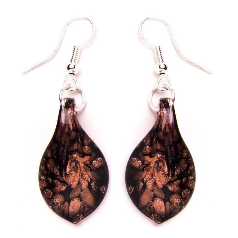 Bleek2Sheek Murano-inspired Glass Gold and Black Teardrop Earrings
