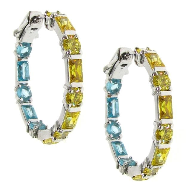 Sterling Silver Yellow and Blue Cubic Zirconia Hoop Earrings