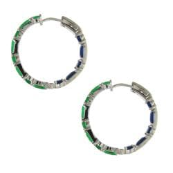 Sterling Silver Green and Dark Blue Cubic Zirconia Hoop Earrings - Thumbnail 1