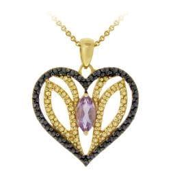 Glitzy Rocks 18k Gold over Silver Amethyst and Black Diamond Necklace