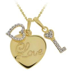 DB Designs 18k Gold over Silver Diamond Heart 'Love' and Key Necklace