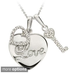 DB Designs Sterling Silver Diamond Accent Heart and Key Love Charm Necklace