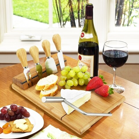 Picnic at Ascot Stilton Bamboo Cheese Board Set with 4 Tools
