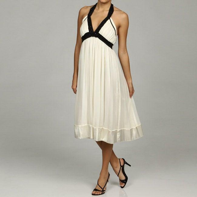 Issue New York Women's Ivory Beaded Halter Dress