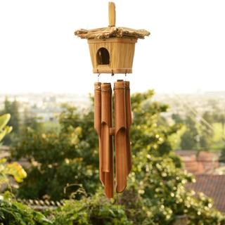 Handmade Bamboo Wind Chime Bird House (Indonesia) - Brown