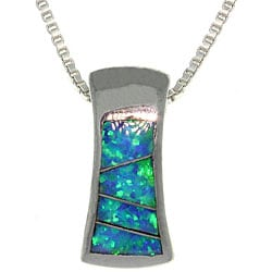 Carolina Glamour Collection Sterling Silver Created Opal Hourglass Design Necklace