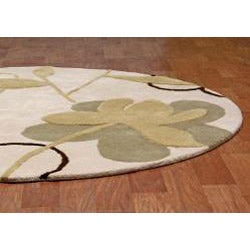 Hand-tufted Bloomer Beige Wool Rug (6' Round) - Thumbnail 1