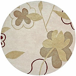 Thumbnail 1, Hand-tufted Bloomer Beige Wool Rug (6' Round).
