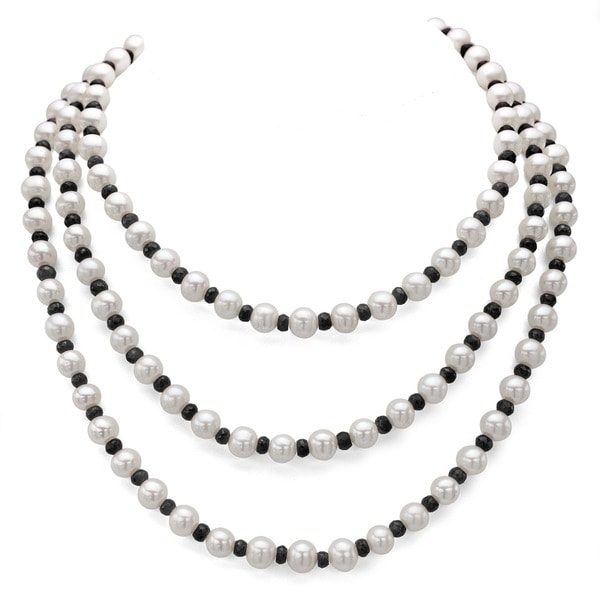 7-7.5mm White Cultured Freshwater Pearl with 4-5mm Gemstone Endless Strand Necklace, 50