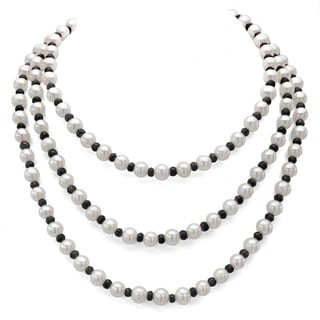 DaVonna White FW Pearl and Black Onyx 50-inch Endless Necklace (7-7.5 mm)