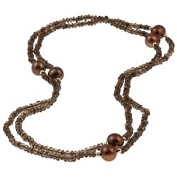 DaVonna 14k Gold Smokey Quartz and Brown FW Pearl Endless Necklace (10-11 mm)