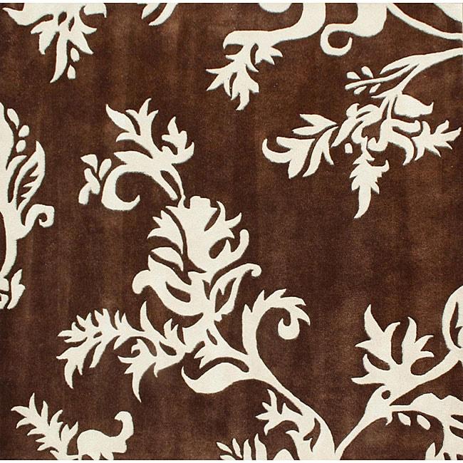 Alliyah Handmade New Zeeland Blend Brown Floral Rug (6' Square)