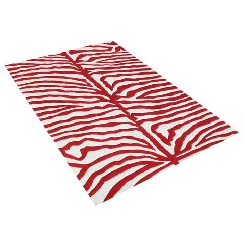 Alliyah Handmade New Zeeland Blend Zebra Off White Rug - 6' x 6'