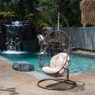 Swinging Egg Outdoor Wicker Chair by Christopher Knight Home