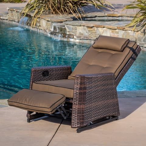 Brown Wicker Outdoor Recliner Rocking Chair by Christopher Knight Home