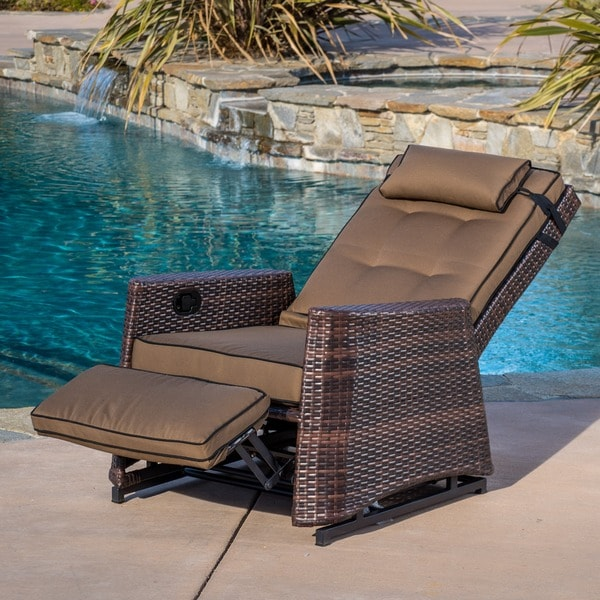 Brown Wicker Outdoor Recliner Rocking Chair By Christopher