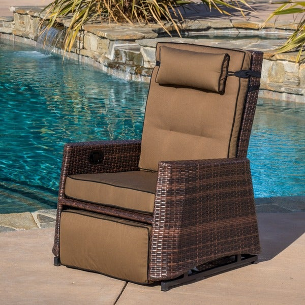 Brown Wicker Outdoor Recliner Rocking Chair by Christopher Knight Home - Free Shipping Today - Overstock.com - 13534444 & Brown Wicker Outdoor Recliner Rocking Chair by Christopher Knight ... islam-shia.org