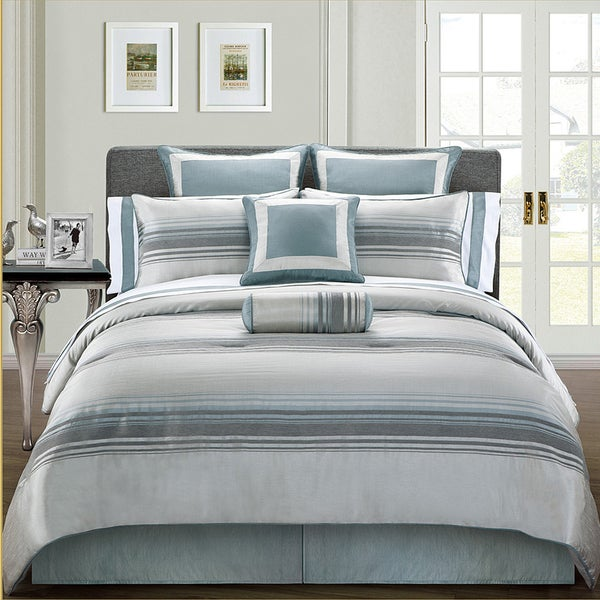 EverRouge Pearl Lagoon 12-piece Striped Bed in a Bag with Sheet Set
