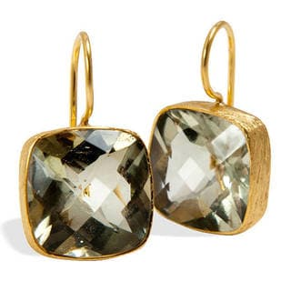 Handmade 18k Goldplated Sterling Silver Green Amethyst Earrings (India)