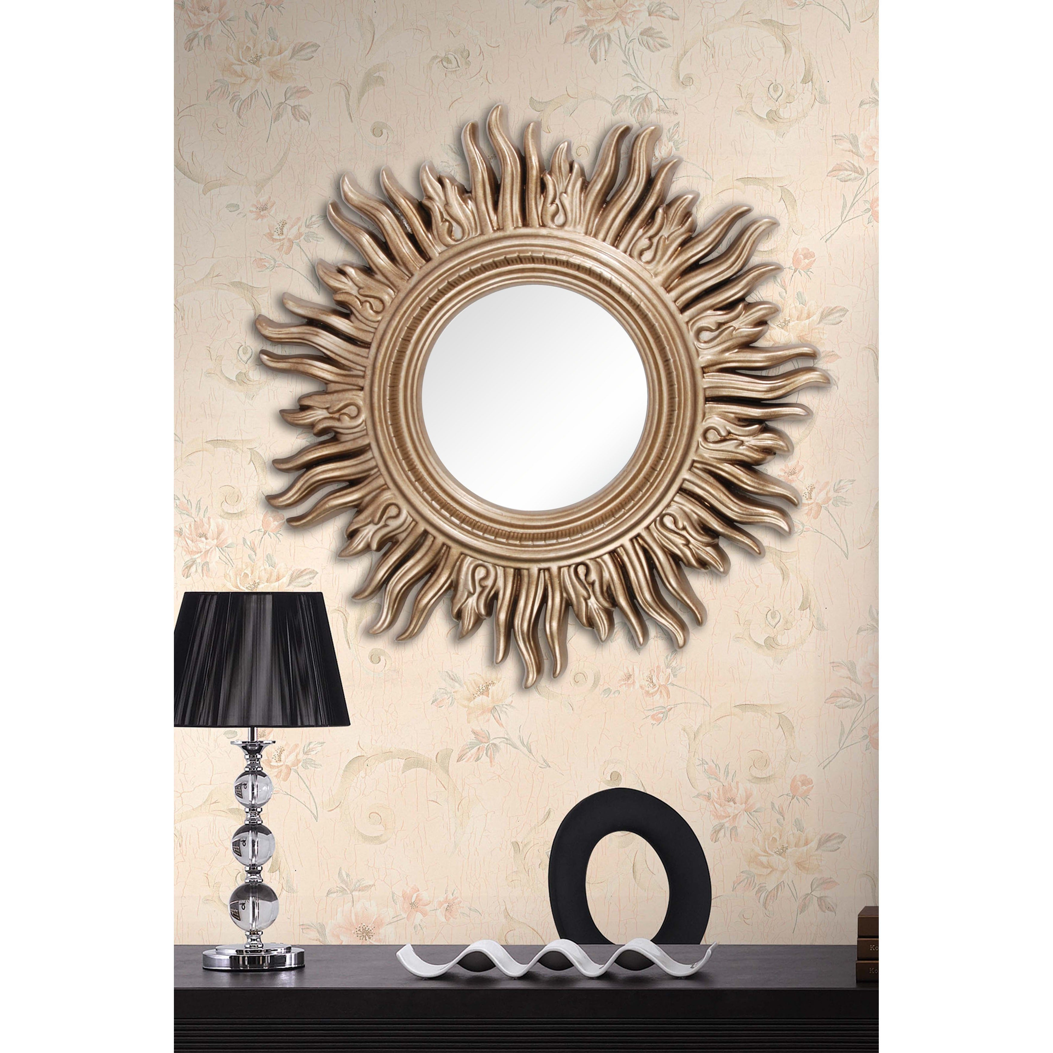 Shop 34 Inch Light Gold Sun Mirror Overstock 5817720