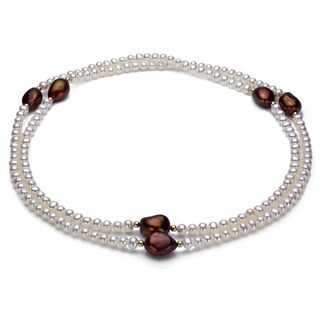DaVonna 14k Gold White and Brown FW Pearl 36-inch Endless Necklace (4-12 mm)