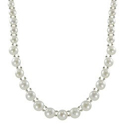 Pearls For You Sterling Silver White Freshwater Pearl Necklace (4.5 - 9 mm)