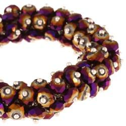 La Preciosa Hanging Purple Rainbow Crystal Stretch Bracelet