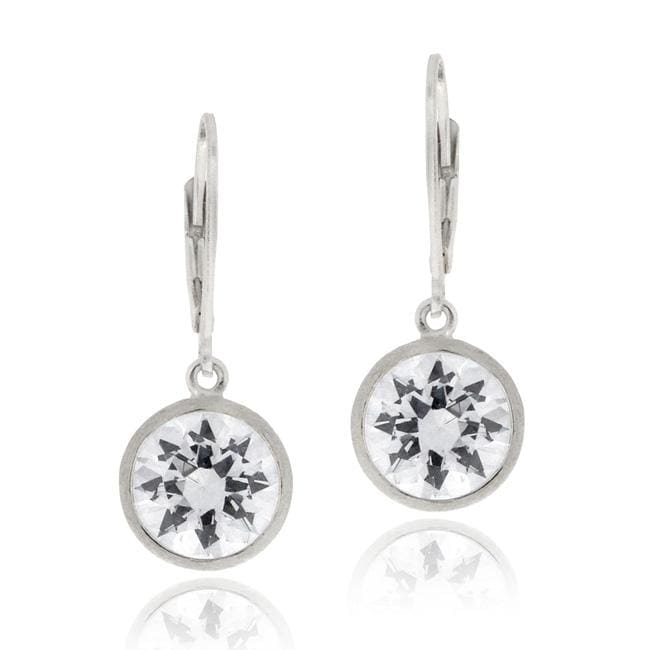 Icz Stonez Sterling Silver Cubic Zirconia Dangle Leverback Earrings - Thumbnail 0
