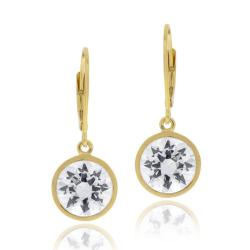 Icz Stonez 18k Gold over Silver Cubic Zirconia Dangle Leverback Earrings