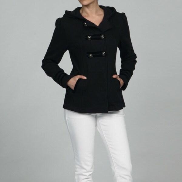 Sebby Collection Women's Black Fleece Military Pea Coat - Free ...