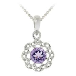 Glitzy Rocks Sterling Silver Amethyst and Diamond Accent Flower Necklace
