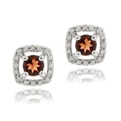 Glitzy Rocks Sterling Silver Garnet and Diamond Accent Square Earrings