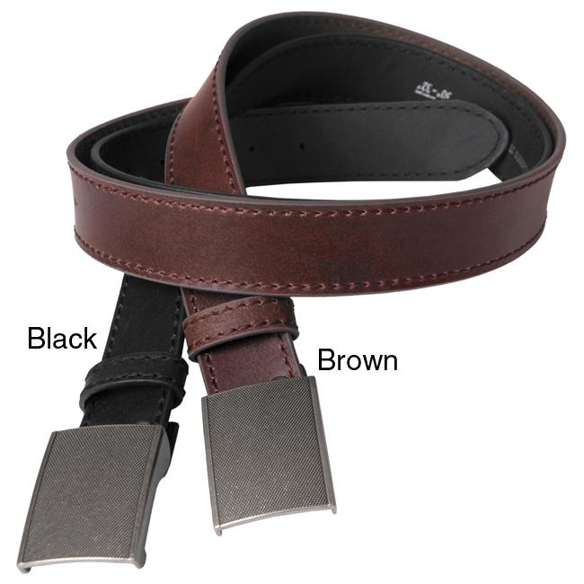 Boston Traveler Men's Topstiched Leather Belt