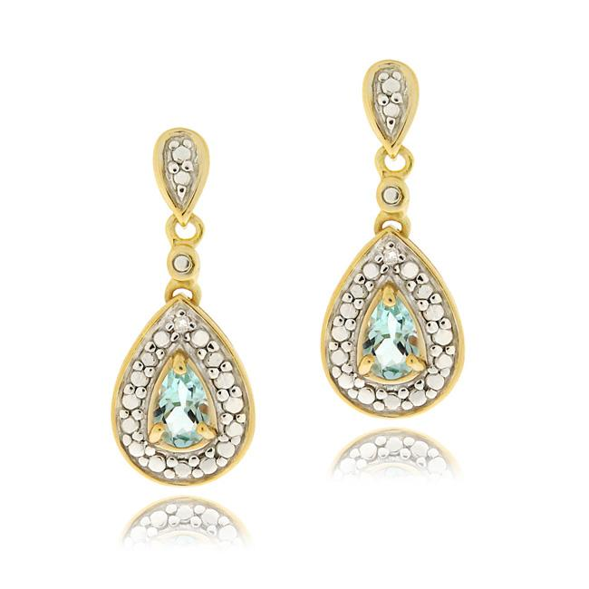Glitzy Rocks 18k Gold over Silver Blue Topaz and Diamond Accent Earrings