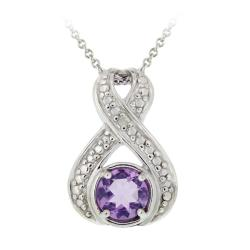 Glitzy Rocks Sterling Silver Amethyst and Diamond Accent Necklace