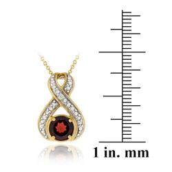 Glitzy Rocks 18k Gold over Silver Garnet and Diamond Accent Necklace