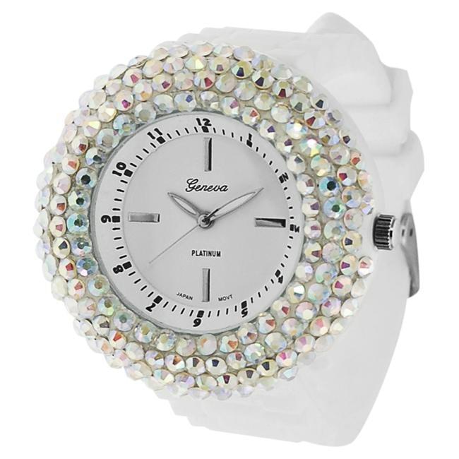 Geneva Platinum Women's White Dial Rhinestone Silicone Watch