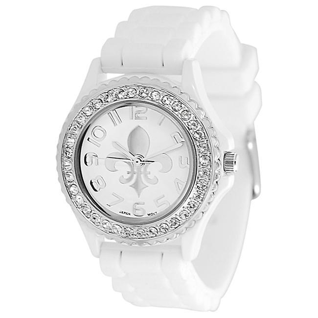 Geneva Platinum Women's Rhinestone Fleur De Lis Silicone Watch