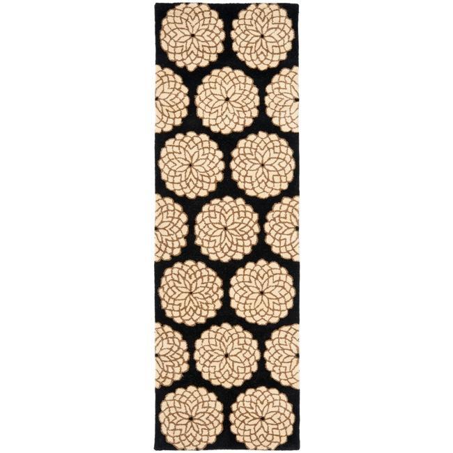 Safavieh Handmade Rodeo Drive Floral Black/ Ivory Wool Runner (2'6 x 8')