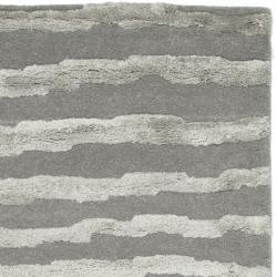 Safavieh Handmade Soho Stripes Grey New Zealand Wool Runner (2'6 x 12') - Thumbnail 1