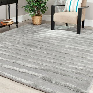 Safavieh Handmade Soho Stripes Grey New Zealand Wool Rug (7'6 x 9'6)