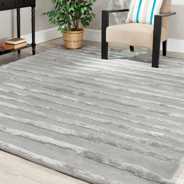 Safavieh Handmade Soho Stripes Grey New Zealand Wool Rug - 8'3 x 11'