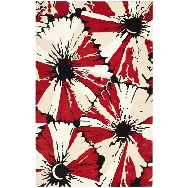 """Safavieh Handmade Soho Red New Zealand Wool Rug - 7'6"""" x 9'6"""""""
