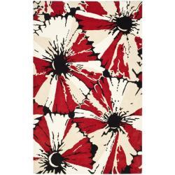 "Safavieh Handmade Soho Red New Zealand Wool Rug - 7'6"" x 9'6"" - Thumbnail 0"