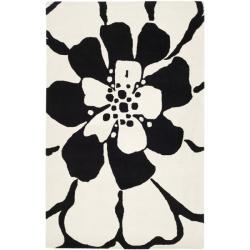 Safavieh Handmade Soho Modern Floral Black New Zealand Wool Rug (3'6 x 5'6')