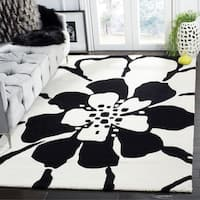 Safavieh Handmade Soho Modern Floral Black New Zealand Wool Rug - 7'6 x 9'6