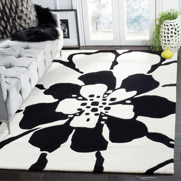 "Safavieh Handmade Soho Modern Floral Black New Zealand Wool Rug - 7'6"" x 9'6"""
